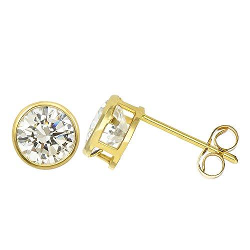 14K Yellow Gold 1.3 Cttw Round Cut Clear Cubic Zirconia Bezel Set Stud Earrings (Push Back) - 14k Gold Bezel Stud Earrings