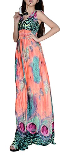 QZUnique - Vestido - para mujer Orange Peacock