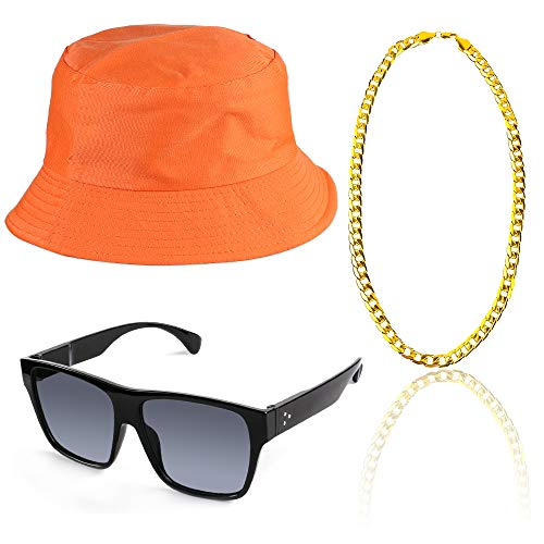 Beelittle 80s/90s Hip Hop Costume Kit Cool Rapper Outfits,Bucket Hat Sunglasses Gold Plated Chain (M)