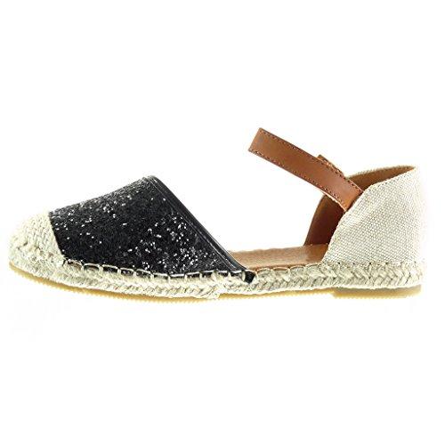 Angkorly - Chaussure Mode Espadrille Sandale Mary Jane ouverte femme pailettes strass diamant corde Talon plat 1 CM - Noir