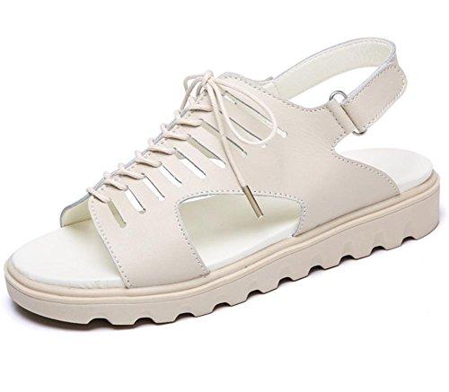 Sommer Sandalen Frauen flache Sandalen weiblichen Studenten Riemchensandalen unten Sandalen Fischkopf Sandalen Schuhe Muffin Beige