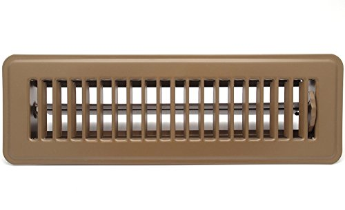 "10"" X 2"" Floor Register with Louvered Design - Heavy Duty Rigid Floor Air Supply with Damper & Lever - Brown"