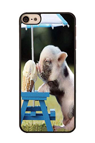 Eat Pig - iPod Touch 6 Case,Slim Impact Resistant PC Hard Shell Protective Case Cover for Apple iPod Touch 6 - Cute Pig Eat Ice Cream