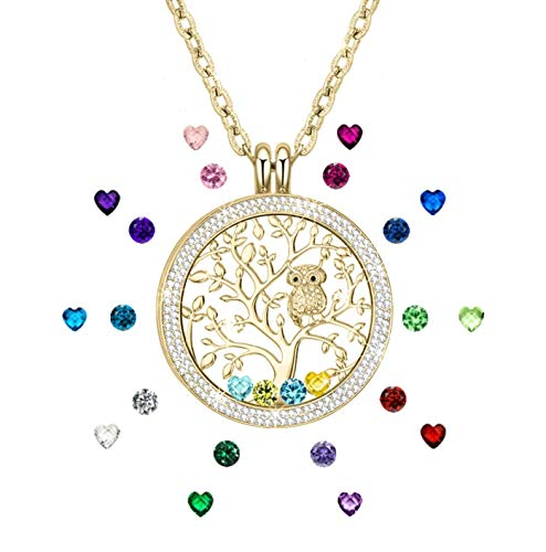 Family Tree of Life Jewelry Floating Charm Memory Locket Pendant Created Birthstone Necklace for Mothers Gifts Birthday Gifts for Mom for Grandma Golden (Mothers Necklace Charms)