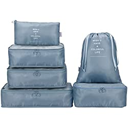 G4Free Packing Cubes 6pcs with Shoes Bag Set Travel Luggage Organizers Compression Packing Bags for Carry-on Suitcase,Duffel Bags,Lightweight,Portable&Waterproof (6pcs-Grey)