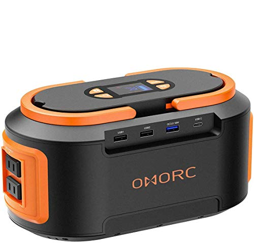 OMORC 222Wh 60000mAh Portable Power Stations 4 USB (Quick Charger 3.0 &Type C), 4 DC Ports, 300W(Peak) AC Outlets,LED Lights,Solar Portable Generators Battery Backup for CPAP Camping Fishing Orange