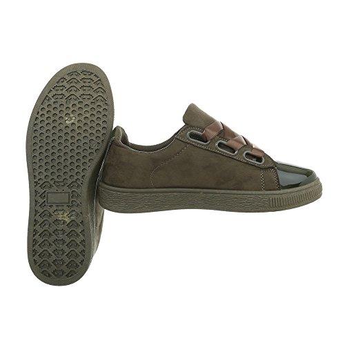 Ital-Design Sneakers Low Damenschuhe Sneakers Low Sneakers Schnürsenkel Freizeitschuhe Olive RA1041