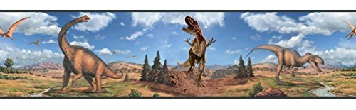 T-rex Wallpaper (Lunarland Dinosaurs Wall Border Boys Room Decor Wallpaper Stickers Decorations T-Rex Decal)