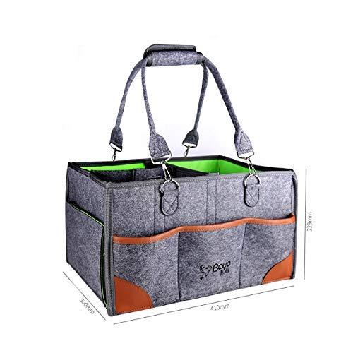 Baby Diaper Caddy Organizer - Nursery Storage Bin for Newborn Baby - Car Travel Tote Bag - Baby Wipes Organizer - Foldable Baby Caddy Diaper Bags (Gray/Green)