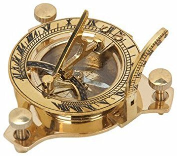 Solid Brass Sundial and Compass Paper Weight and Desk Accessory ()