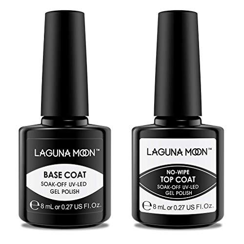 Lagunamoon Gel Base and Top Coat,Shiny No Wipe Top Coat for All Soak Off Gel Nail Polish UV LED Gel Nail Lacquer,Value 2 Gift Set