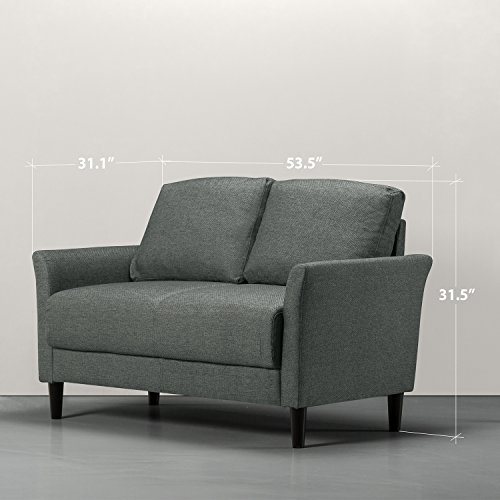 Zinus Classic Upholstered 53.5in Sofa Couch / Loveseat, Grey with Hint of Green