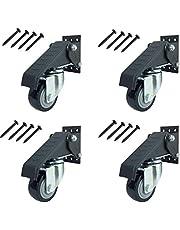 SUREH 4 pack Werkbank Caster Kit Heavy Duty Intrekbare Casters Swivel Caster Wielen met Veiligheidsvergrendeling Rem Verstelbare Polyurethaan Duurzaam Staal Constructie