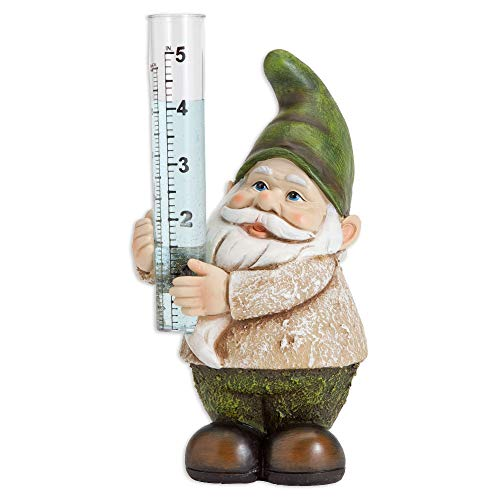 Plastic Rain Gauges - Bits and Pieces Garden Décor-Hand Painted Gnome Rain Gauge Sculpture for Your Garden, Lawn or Patio - Charming, Durable, Weather Resistant Polyresin Statue