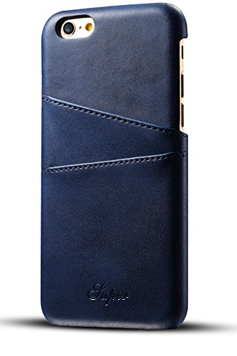 XRPow Apple iPhone 6 iPhone 6s Wallet Phone Case, Slim Leather Wallet Case Back Cover With Credit Card Holder Blue (Apple Iphone 6 Leather Case Black Mgr62zm A)