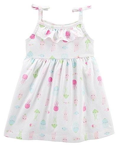 Carter's Baby Girls Cotton Dress Ruffle Neckline + Diaper Cover (12M)