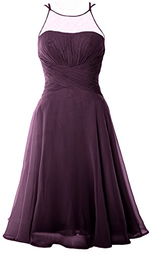 MACloth Elegant Illusion Short Cocktail Dress Chiffon Wedding Party Formal Gown Plum
