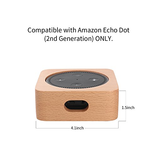 CamRom Natural Solid Wood Stand For Amazon Echo Dot【2nd Generation】, Solid Wood Speaker Holder Docking Station for Alexa, Protective Case Made from Beech Wood, Saving Space on Nightstand or Tables by CamRom (Image #7)