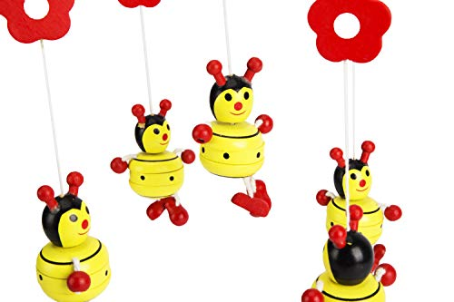 wooden Baby Crib Mobile with Ladybugs for Girls and Boys Ceiling Mounted Decoration Cute and Colorful Natural Wood Nursery Room Decor for Newborns and Toddlers