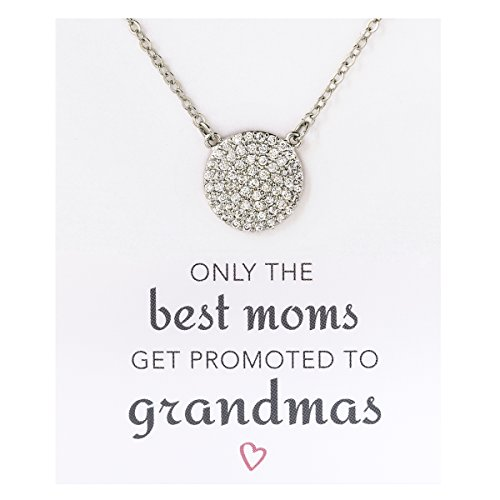 - A+O Gift for Grandma, Pave Disc Necklace in Sterling Silver