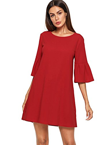 Floerns Women's Bell Sleeve Embroidered Tunic Dress Red L