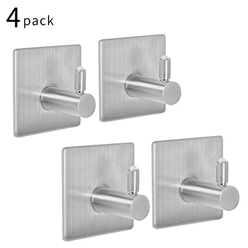 SZUAH 4-Pack Self Adhesive Coat Towel Robe Hooks, Self Sticky on Wall Hooks for Kitchen Bathrooms Lavatory, 18/8 Heavy Duty Stainless Steel, Water and Rust Proof. by SZUAH