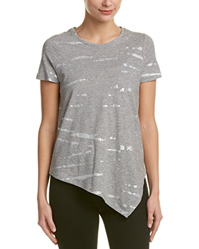 Two by Vince Camuto Women's Short-Sleeve Asymmetric Foiled Open Tie-Dye T-Shirt, Light Heather Grey, Small (Vince Camuto Shirt)