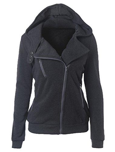 Outerwear Sweatshirt Cappuccio Cappotto Di Vogstyle Manica Solido Scuro Autunno Colore Felpa Con Grigio Lunga Donna 0Wq8RwZ