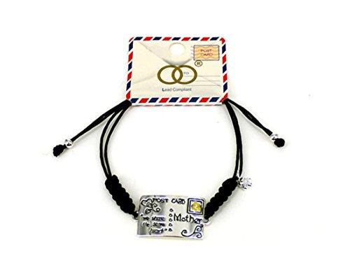 Silvertone Mom Family Theme Postcard Friendship Bracelet w/Gift Box by Athena Brand