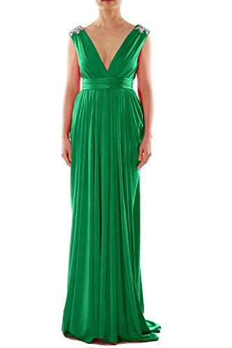 MACloth Women V Neck Long Jersey Prom Dress Wedding Party Formal Evening Gown Verde