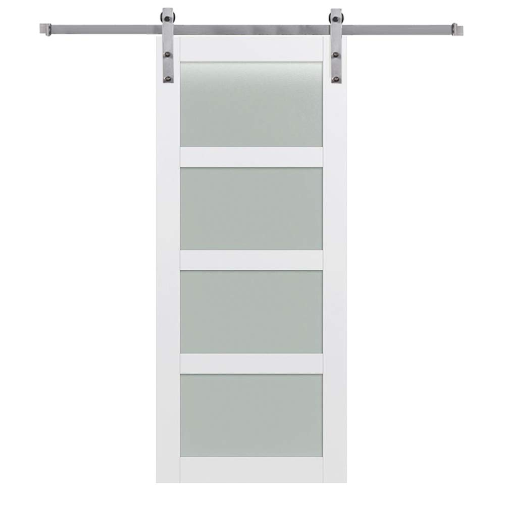 National Door Company ZZ364969 Primed MDF, 4 Lite, Frosted Glass, 36''x84'', Barn Door Unit, Stainless Steel