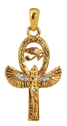 Gold Color Pewter Isis Pendant with Eygptian Eye of Ra