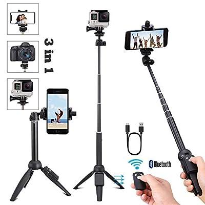 Portable 40 Inch Universal Selfie Stick, Bluetooth Selfie Stick Tripod Wireless Remote, Extendable Mini Aluminum Alloy Handheld Monopod Selfie Stick Compatible iPhone Samsung DSLR