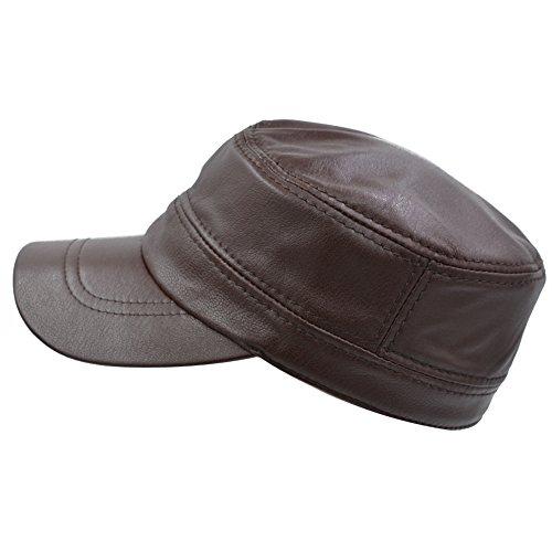 IFSUN Solid Genuine Lambskin Leather Hat Military Style Flat Cap