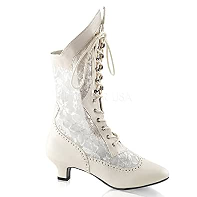 115 (6, Ivory) Victorian Lace Insert High Boot