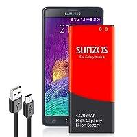 Galaxy Note 4 Battery, SUNZOS 4320mAh Li-ion Replacement Battery for Samsung Galaxy Note 4 N910, N910U LTE, N910V (Verizon), N910T (T-Mobile), N910A (AT&T), N910P (Sprint) [3 Years Warranty]