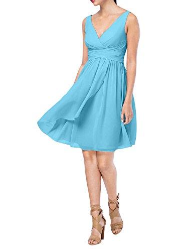 Einfach A Rock Brau mia Knielang Festlichkleider La Kurzes Blau Abendkleider Brautjungfernkleider Chiffon Partykleider Linie E1Hq5xvCw