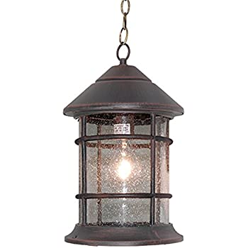ETopLighting Bella Luce Collection Outdoor Pendant Hanging Lantern, Oil  Rubbed Rust Finish Clear Seeded Glass