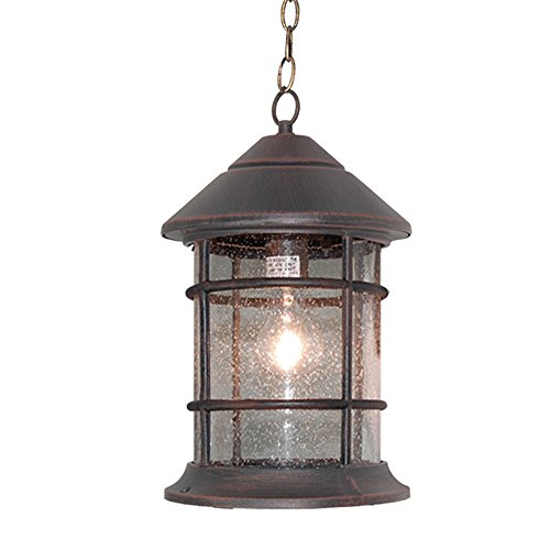 eTopLighting Bella Luce Collection Outdoor Pendant Hanging Lantern, Oil Rubbed Rust Finish Clear Seeded Glass (Collection Outdoor Hanging Lamp)