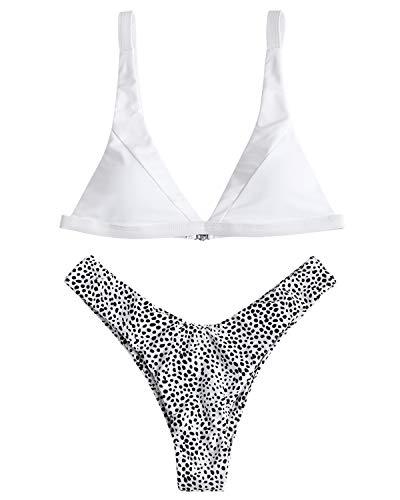 - ZAFUL Women's Padded Bikini High Cut Leopard Bottoms Two Piece Bikini Set Swimsuit
