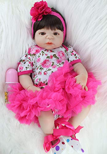 BeesClover \u00a055 Centimetri Full Body Silicone Reborn Baby Doll Toy Realistico Neonato Principessa Ragazze Babies Doll Kid Brinquedos Bagno Giocattolo Marronee Eyes