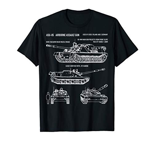 ASU-85 Russian Airborne Self-Propelled Gun Blueprint T-Shirt