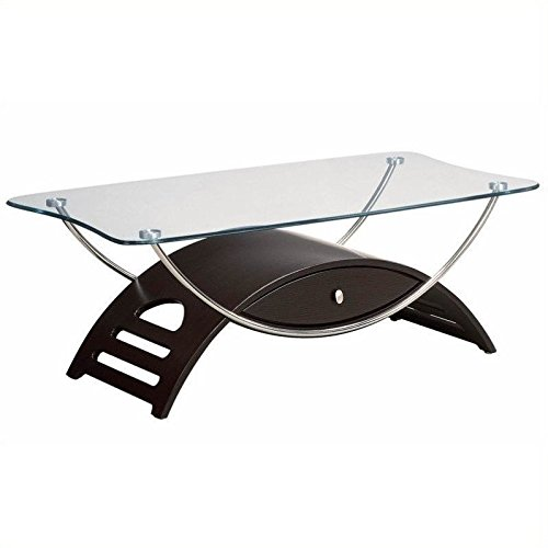 Wenge Cocktail Table (Global Furniture Chrome Occasional Coffee Table with Wenge Legs)