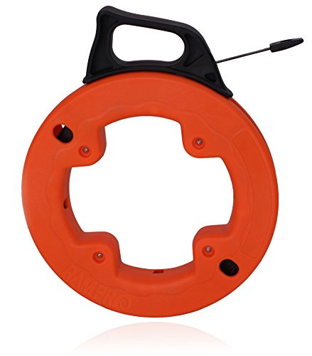 Vanitek 25 Foot Reach, Spring-Steel Fish Tape Reel, with High Impact Case, for Electric or Communication Wire Puller (Steel Spring Fish)