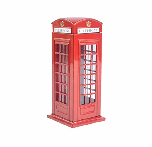 (D-Foxes Delicate Britain Metal Alloy Money Coin Spare Change Piggy London Street Red Telephone Booth Bank Souvenir Gift Model Box Jar (Large))