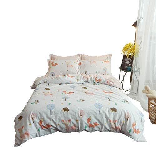 Buildingdream Twin Duvet Cover 100% Cotton Lovely Animal World Fox Kids Duvet Cover 68 x 90 Super Soft Breathable 2 Pieces Hotel Bedding Sets with Zipper Closure(Animal World,Twin) by Buildingdream