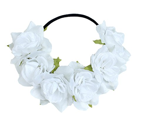 Floral Fall Rose Holiday Christmas Crown Festival Headbands Hippie Flower Headpiece F-53 (White)