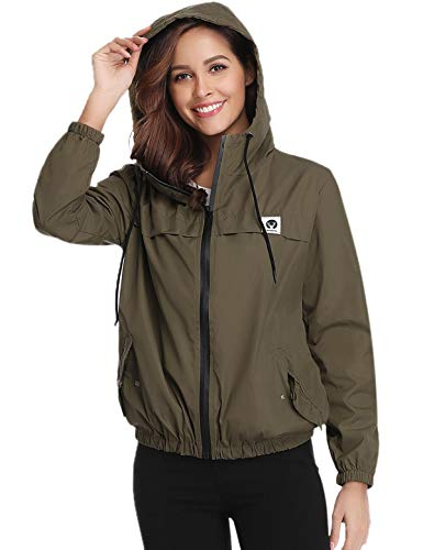 Aibrou Lightweight Waterproof Raincoat for Women Packable Outdoor Rain Jacket Army Green
