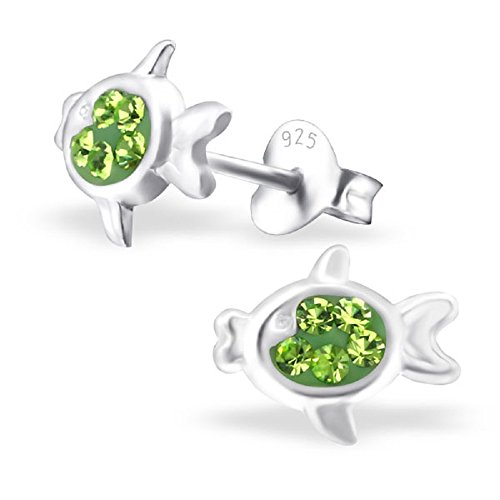 925 Sterling Silver Hypoallergenic Peridot Green Crystal Fish Stud Earrings for Girls 22659