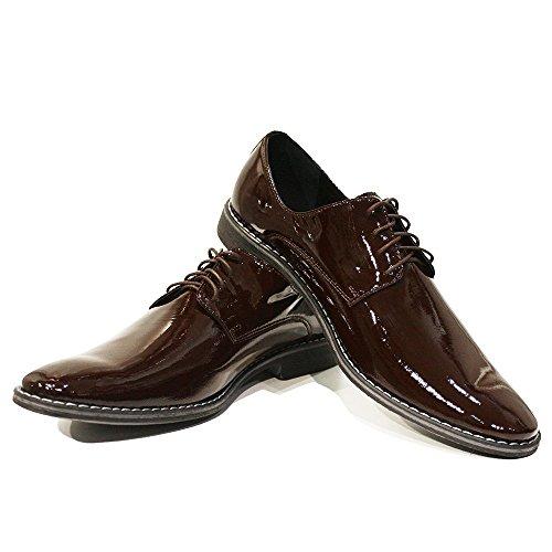 PeppeShoes Modello Guglielmo - Handmade Italiano da Uomo in Pelle Marrone Scarpe da Sera - Pelle di Vitello Pelle di Brevetto - Allacciare